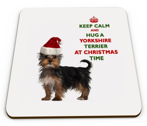 Christmas Keep Calm And Hug A Yorkshire Terrier Novelty Glossy Mug Coaster
